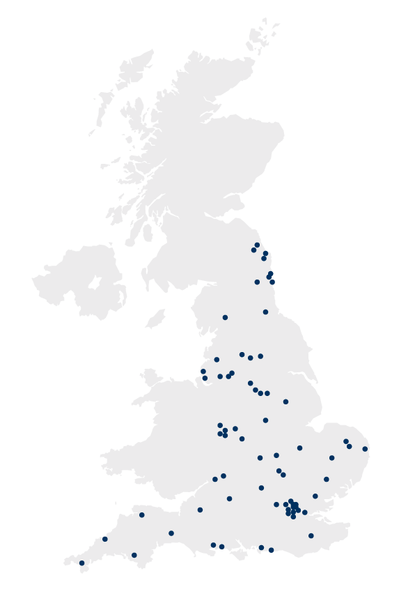 UK map displaying the locations of the companies who have registered their commitment